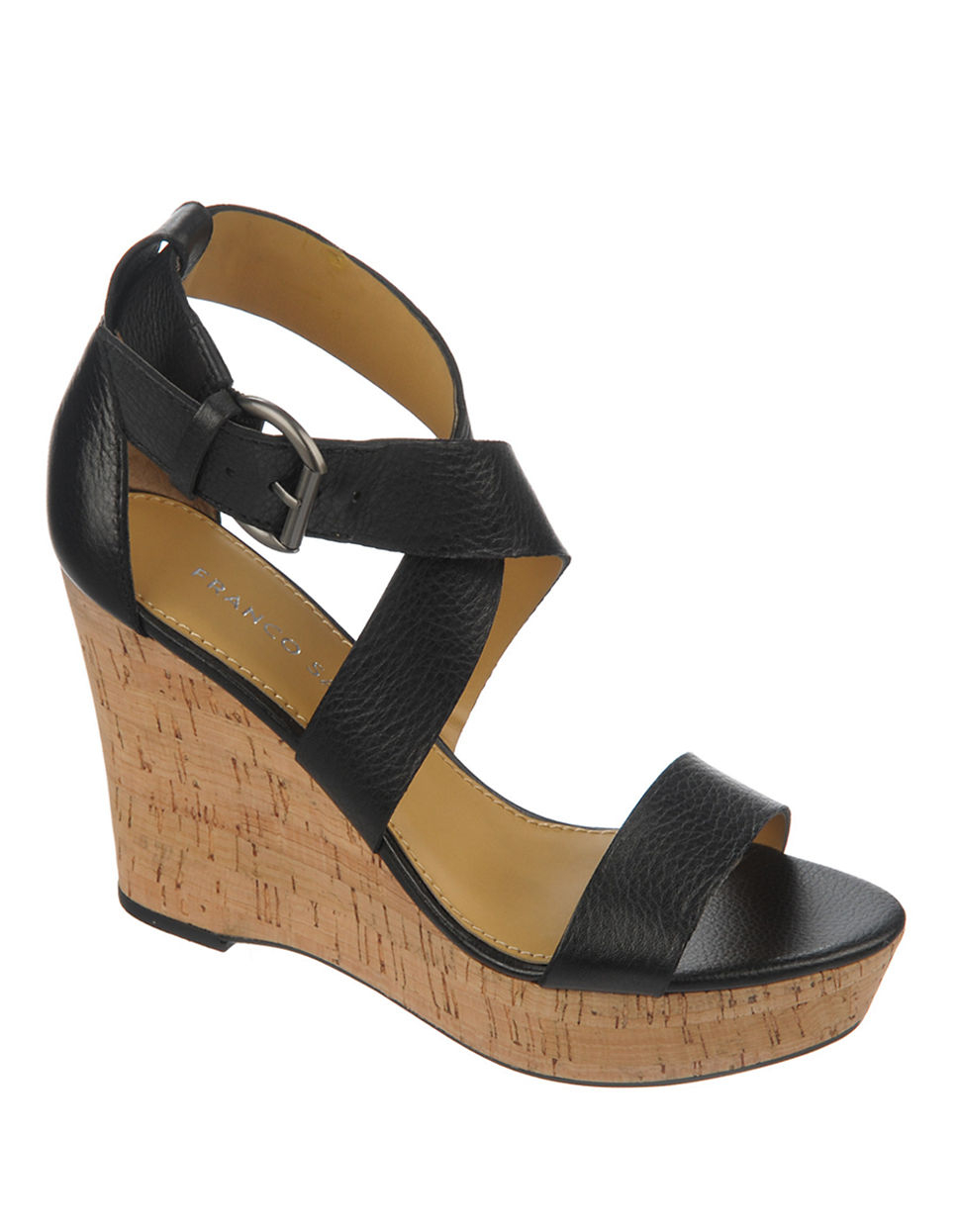 franco sarto sitar leather wedge sandals in black lyst
