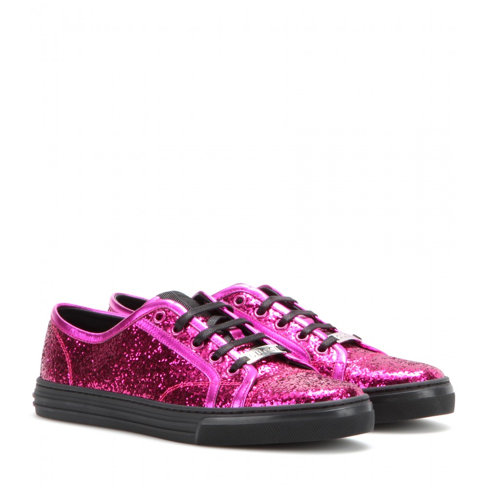 Lyst - Gucci Glitter Sneakers in Pink