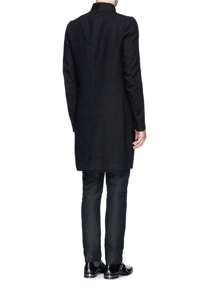 Lyst - Song for the mute Raised Neck Silk-linen Long Coat in Black ...
