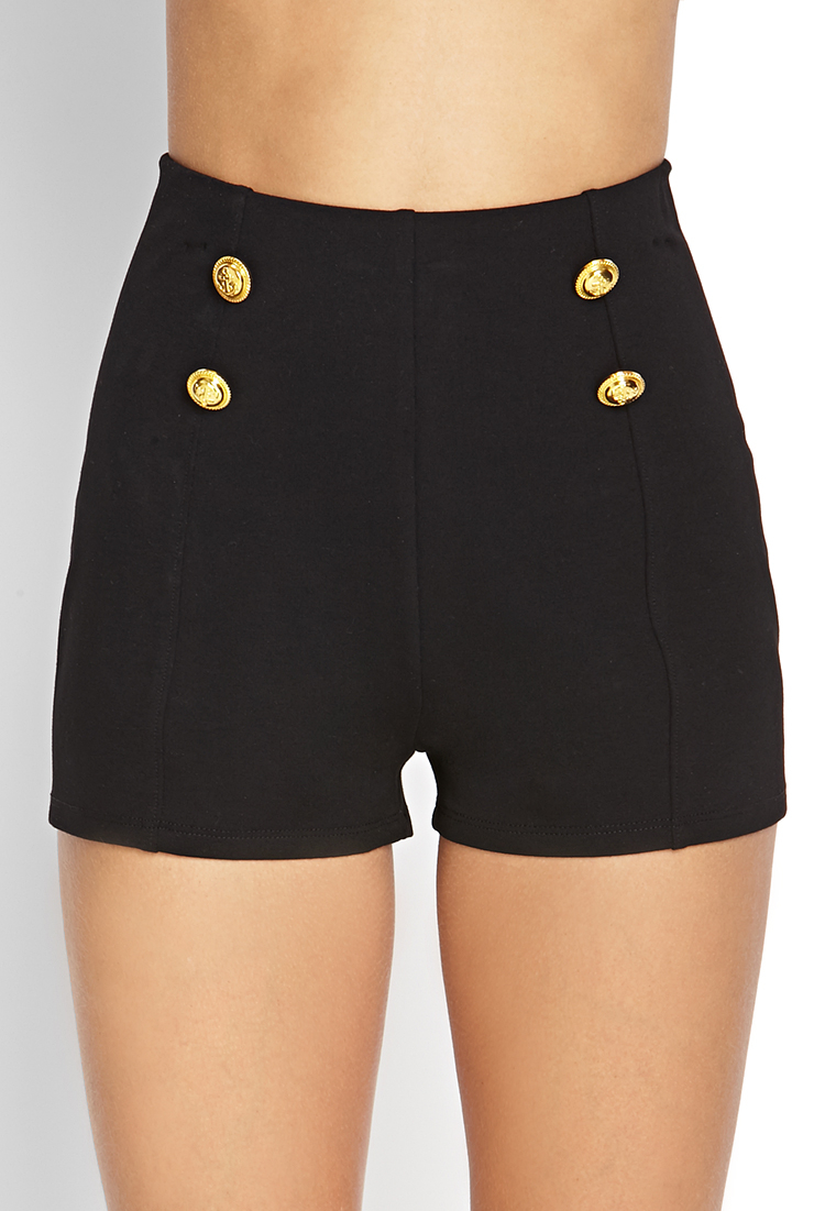 Forever 21 High-waisted Sailor Shorts in Black | Lyst