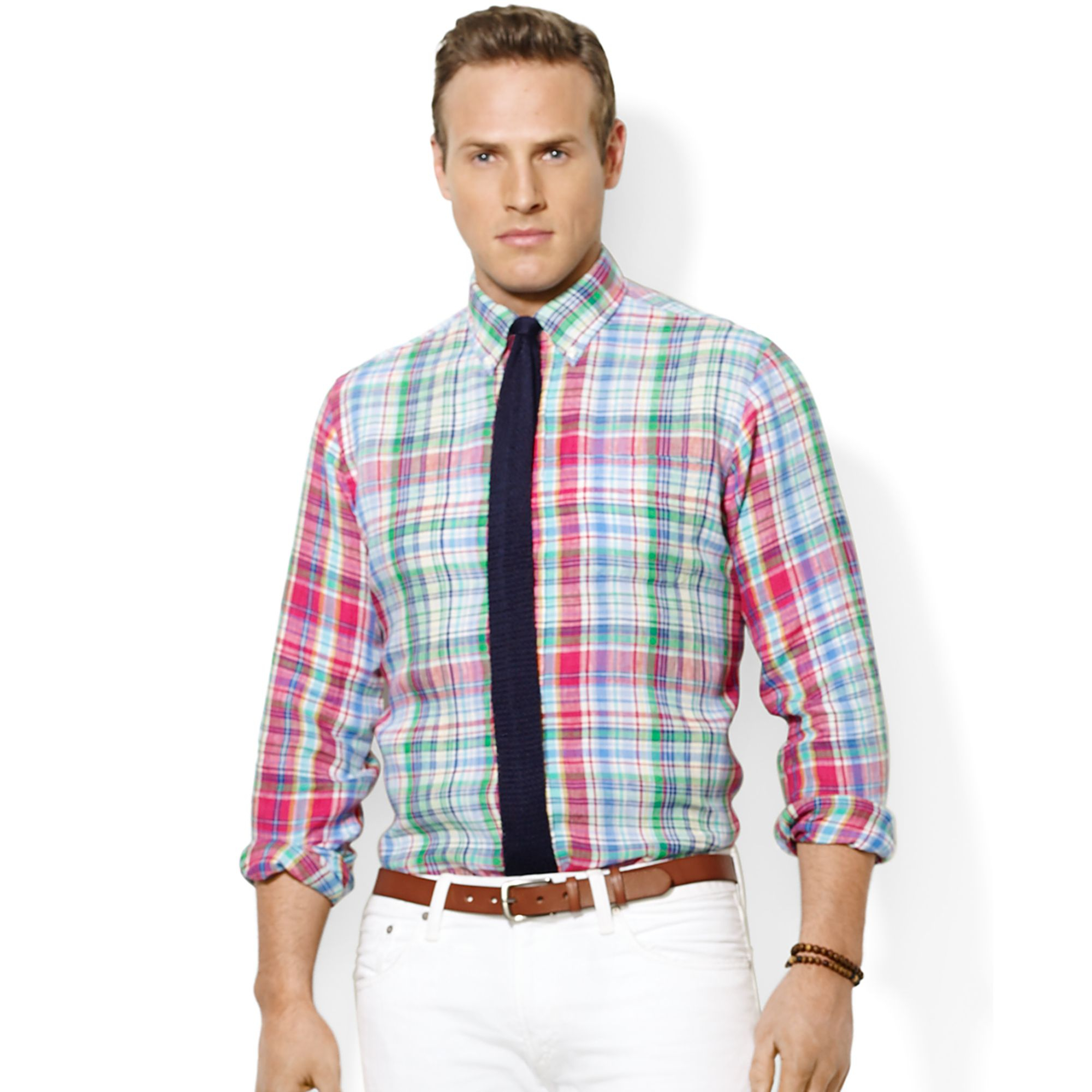 Ralph Lauren Polo Big And Tall Linen Plaid Shirt In