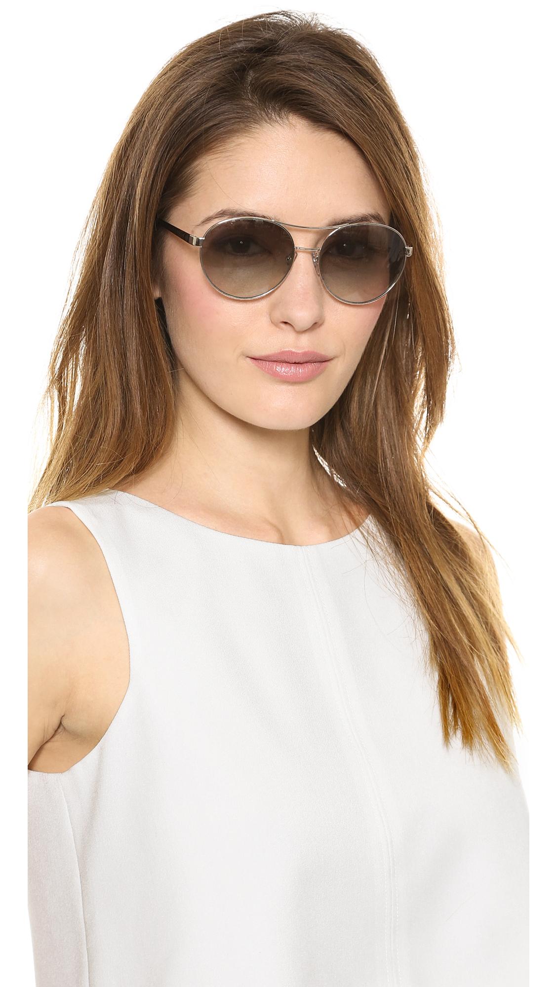 88f6939170 Lyst - Tory Burch Gradient Aviator Sunglasses - Silver Black Grey ...