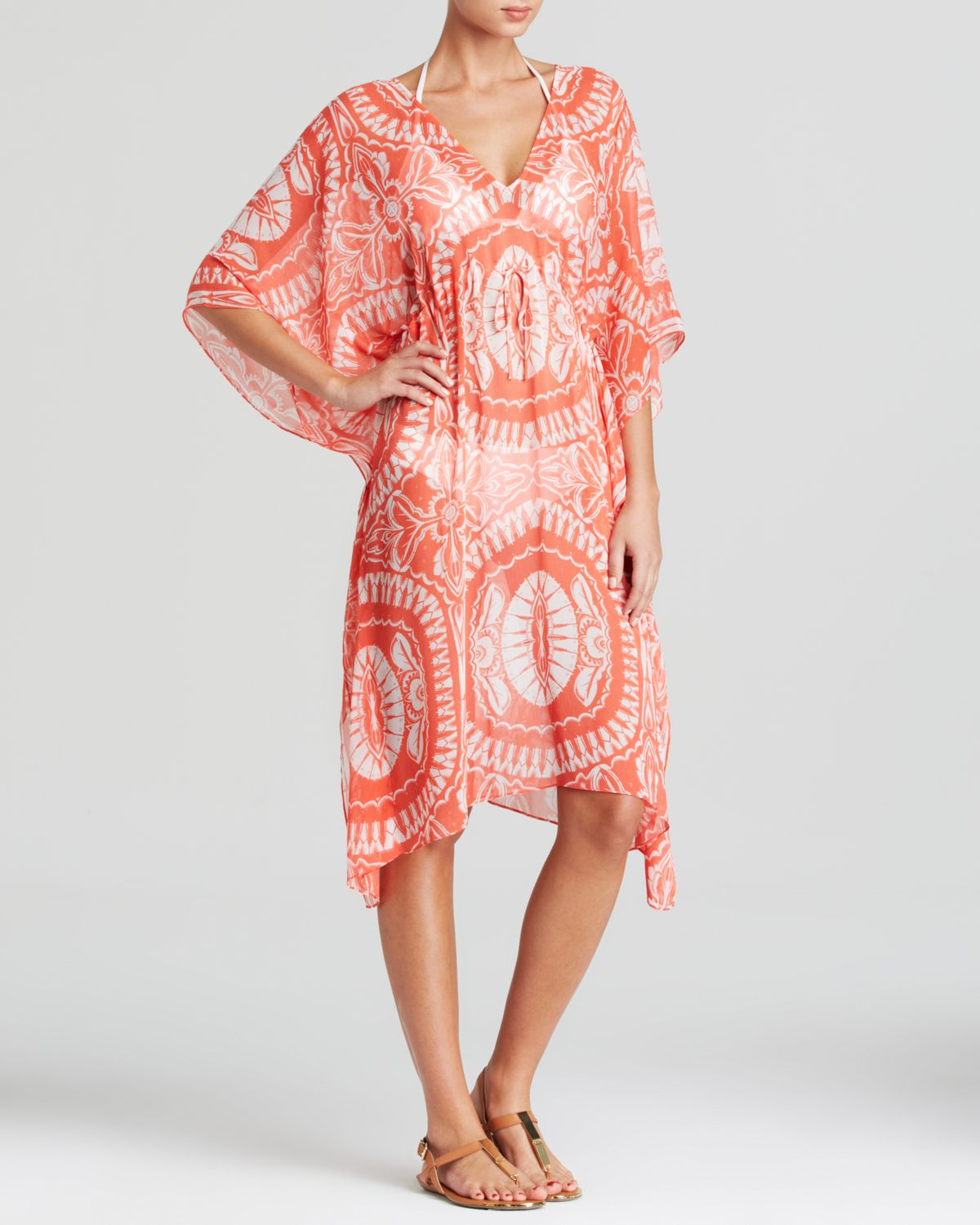faf82f9d970d1 Lyst - Echo Maldives Medallion Print Swim Cover Up Caftan in Pink