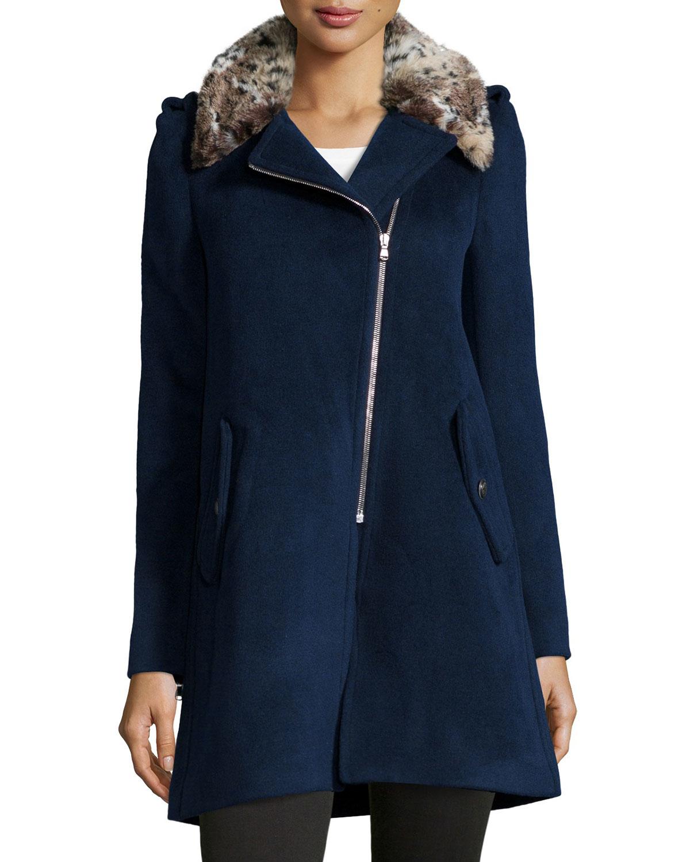 Rebecca taylor Faux-fur-trim Wool-blend Jacket in Blue ...