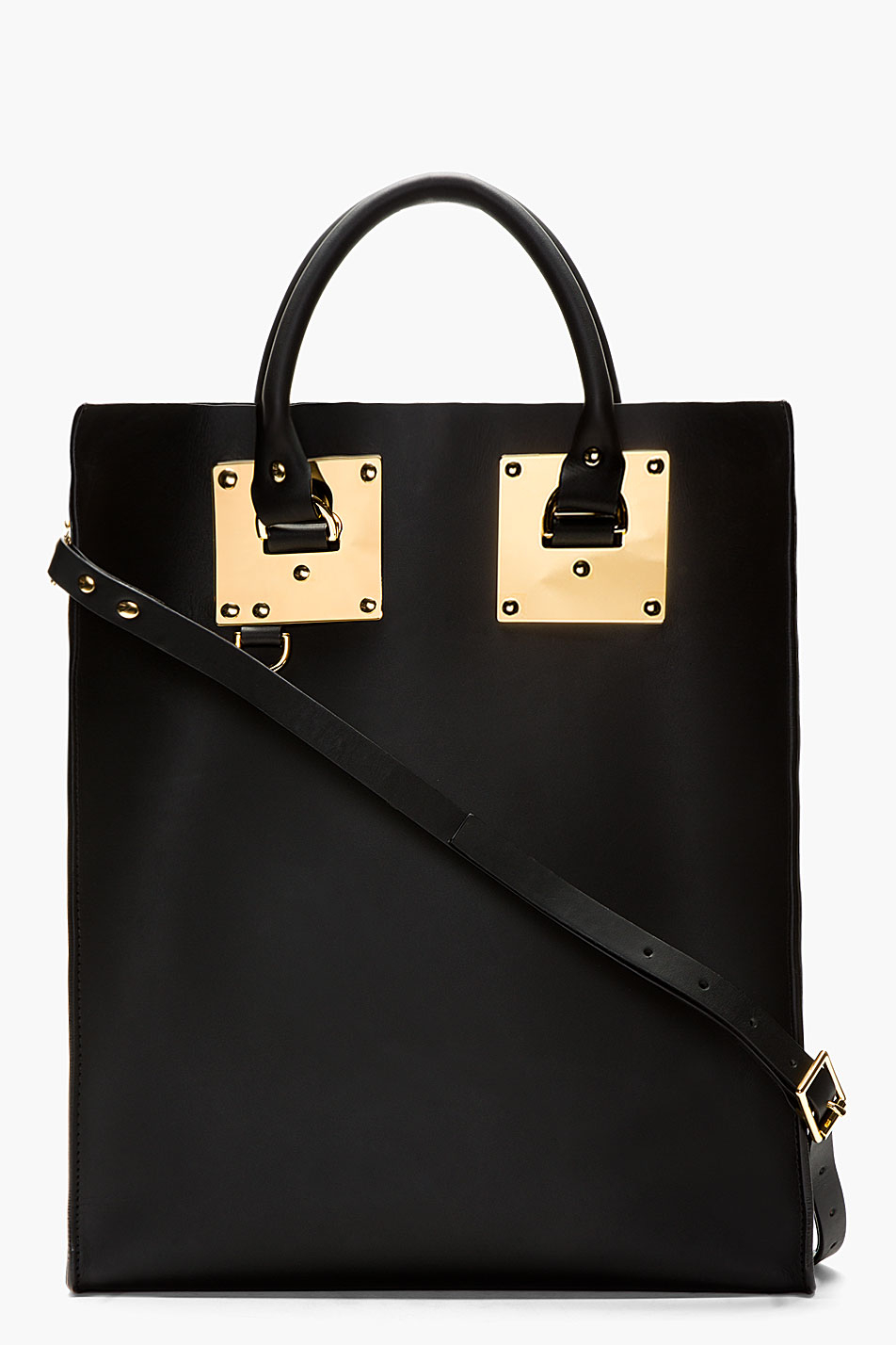 Sophie hulme Black Leather and Gold Tote Bag in Black | Lyst