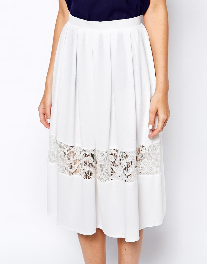 Love Midi Skater Skirt With Lace Insert Hem in White | Lyst
