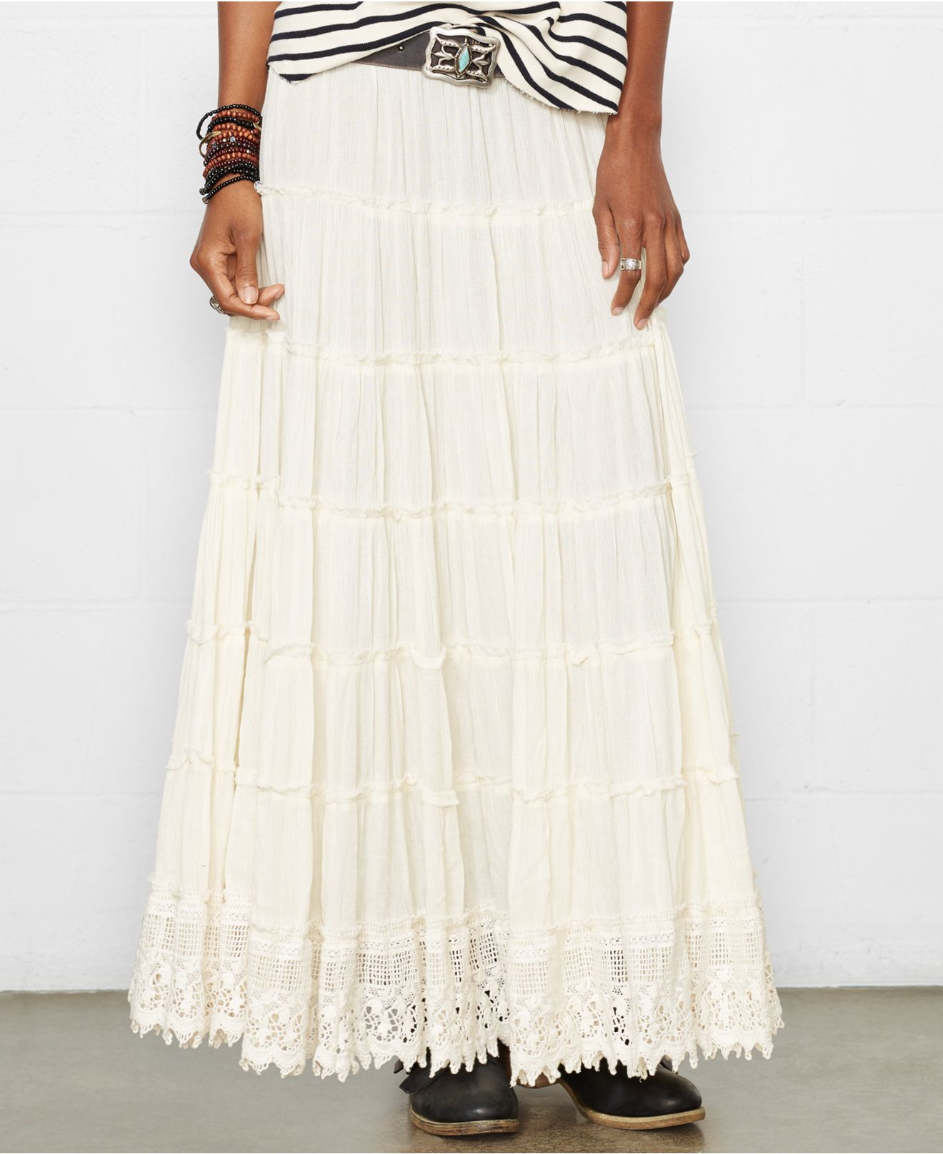 Denim & supply ralph lauren Tiered Maxi Skirt in White | Lyst