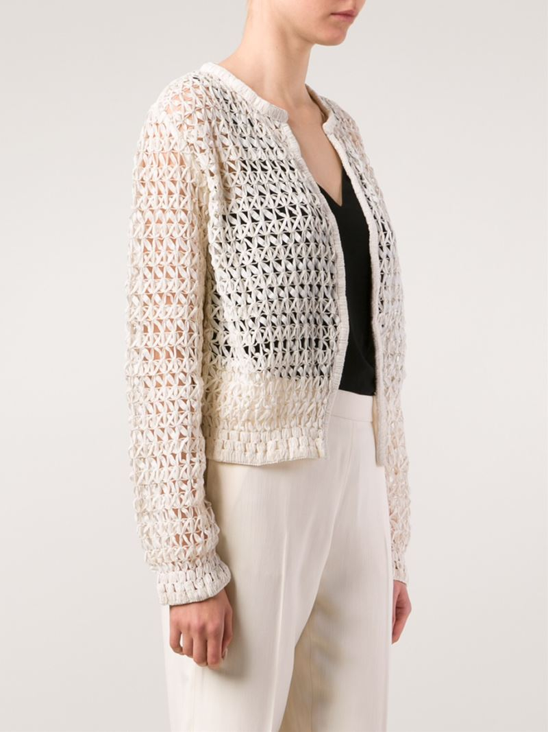 Chloé Open Knit Cardigan in White | Lyst