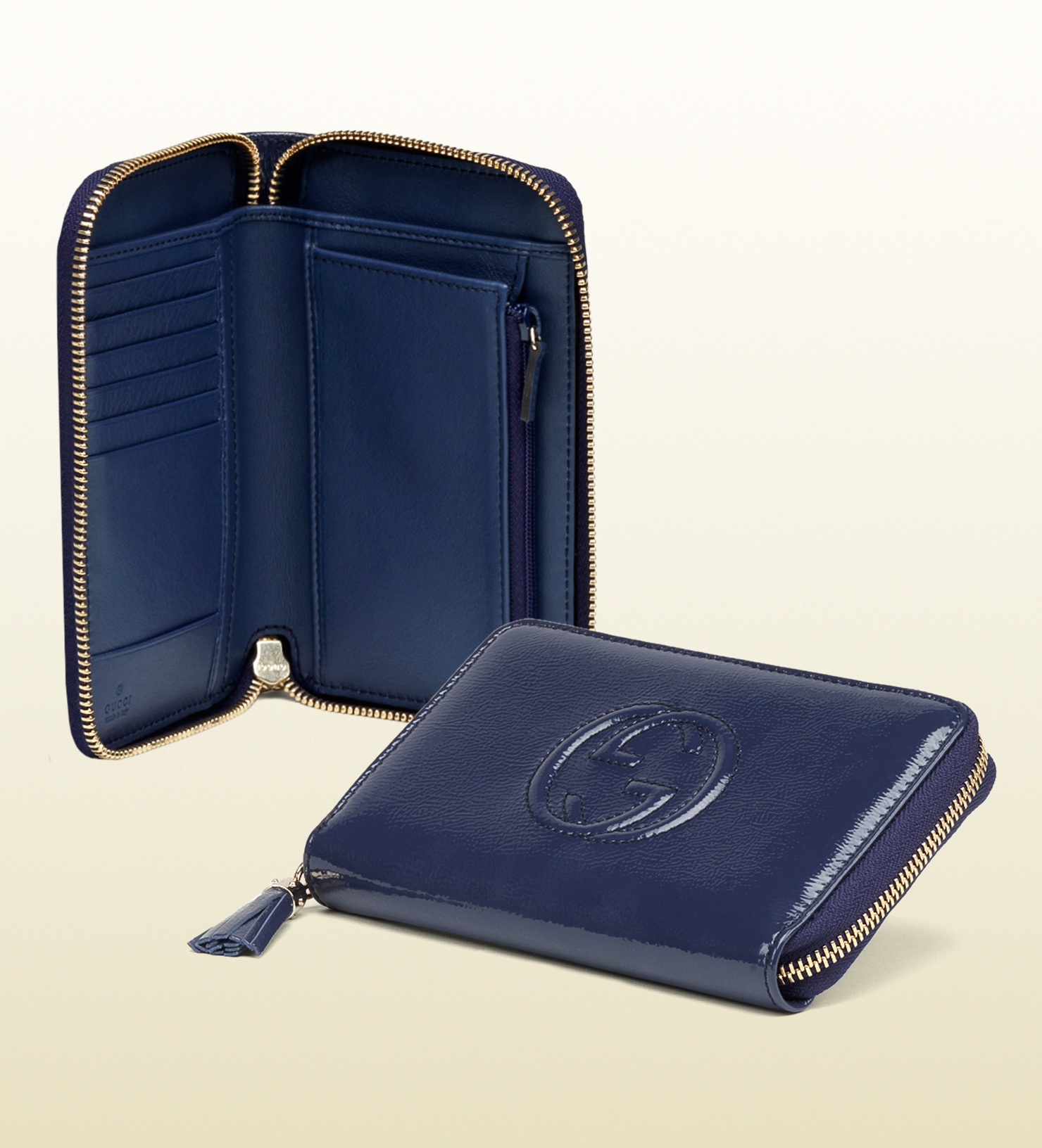 6908ce4eb70e12 Gucci Soho Blue Soft Patent Leather Medium Zip Around Wallet in Blue ...