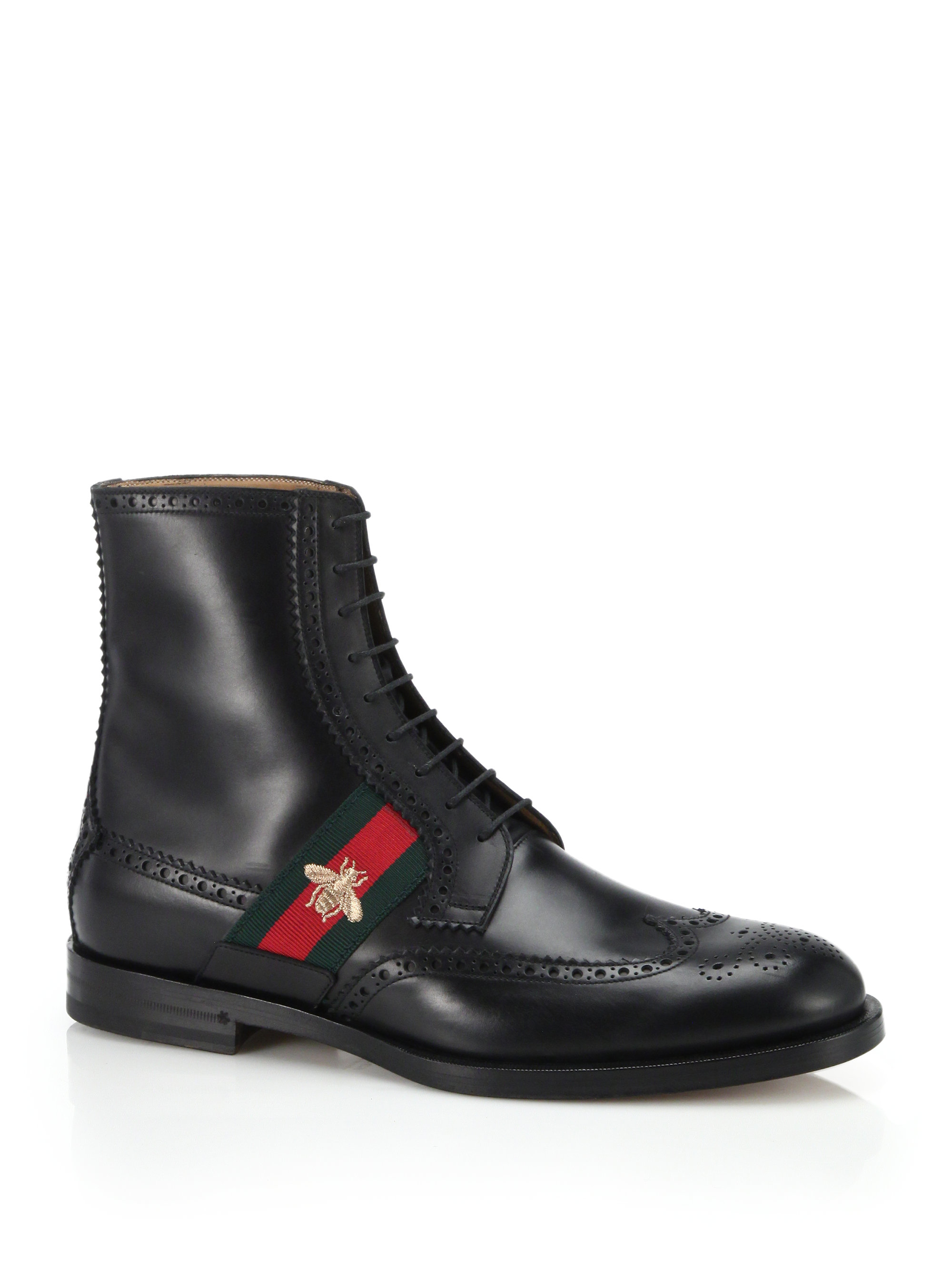 gucci leather boot with bee web in black for men lyst