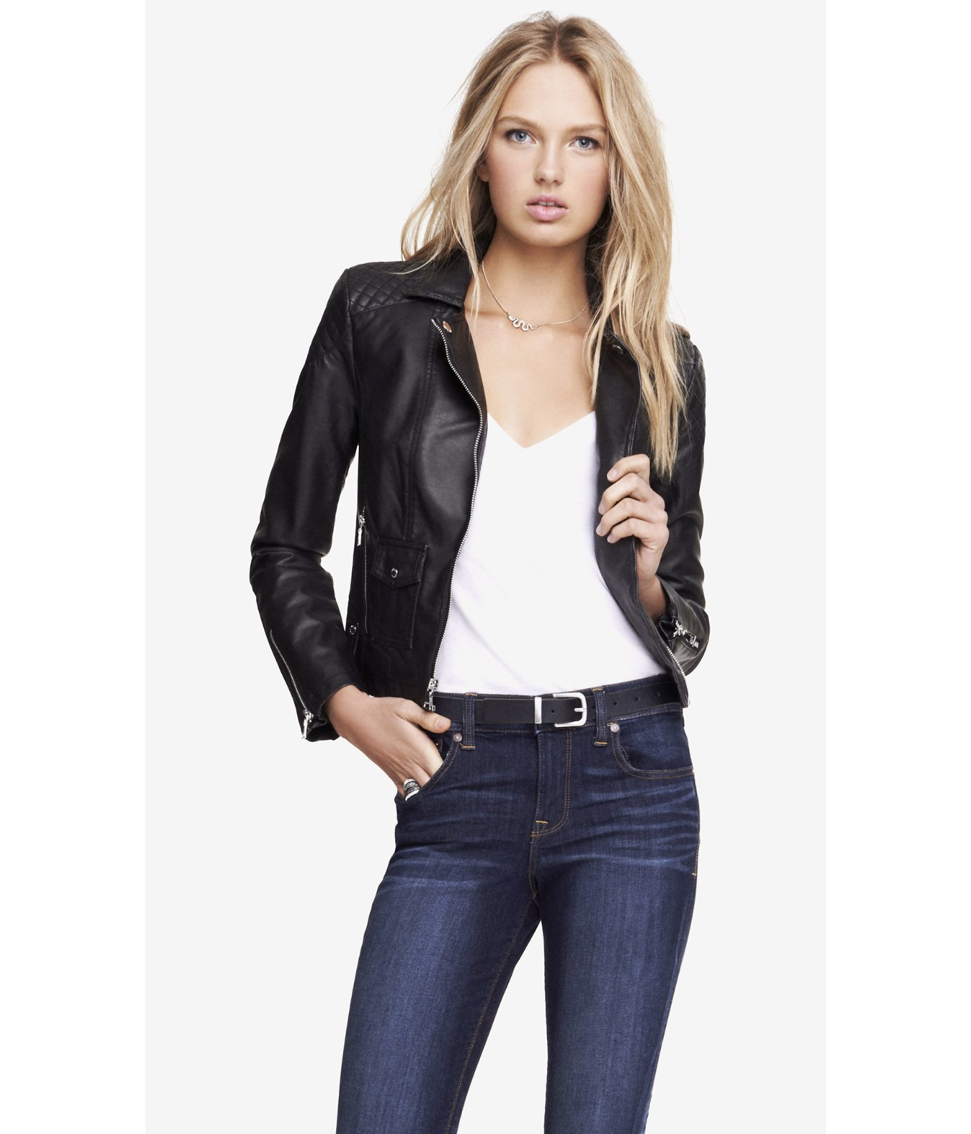 Lyst Express Minus The Leather Quilted Shoulder Moto Jacket In Black