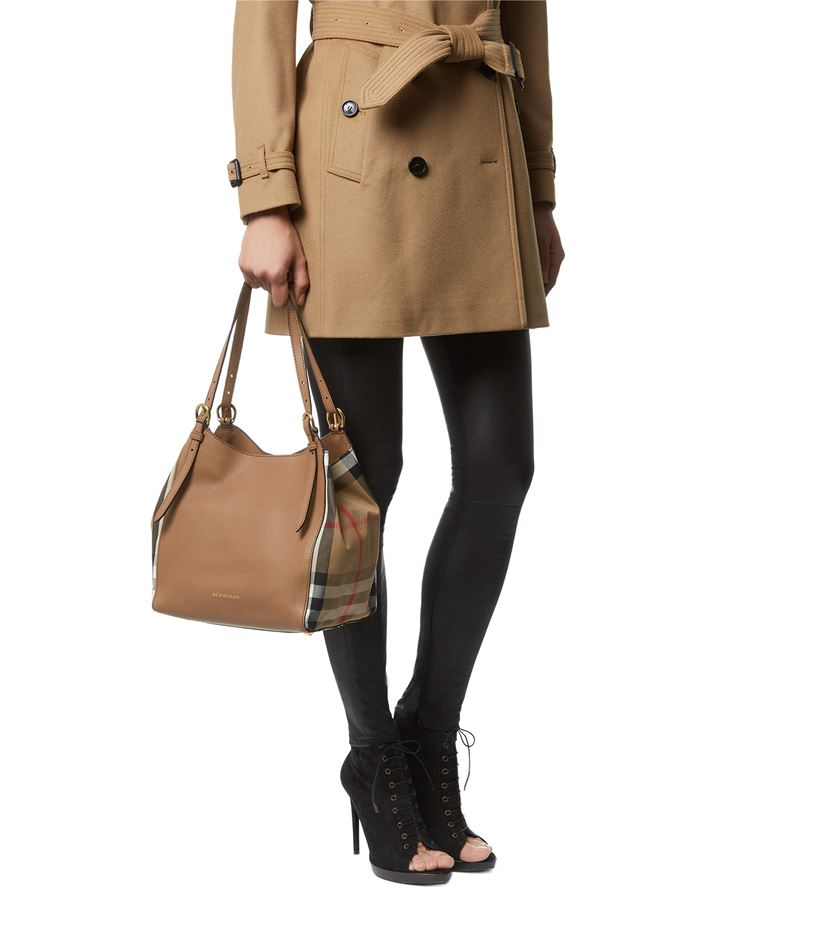 d41d2abc3c51 Burberry Small House Check Detail Leather Canter Bag in Brown - Lyst