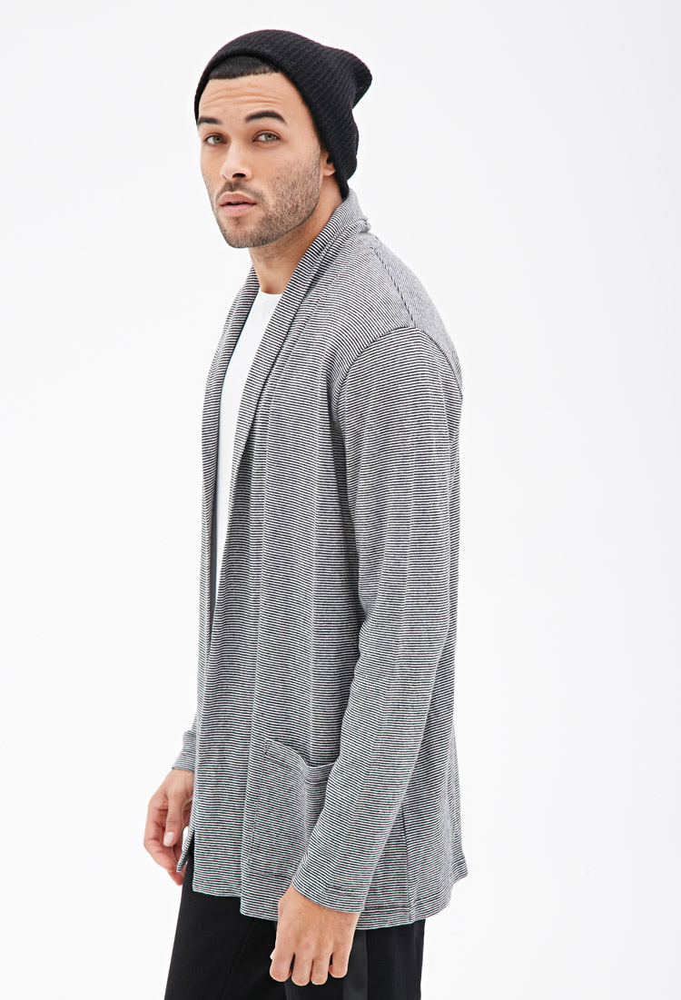 Forever 21 Striped Open-front Cardigan in Black for Men | Lyst