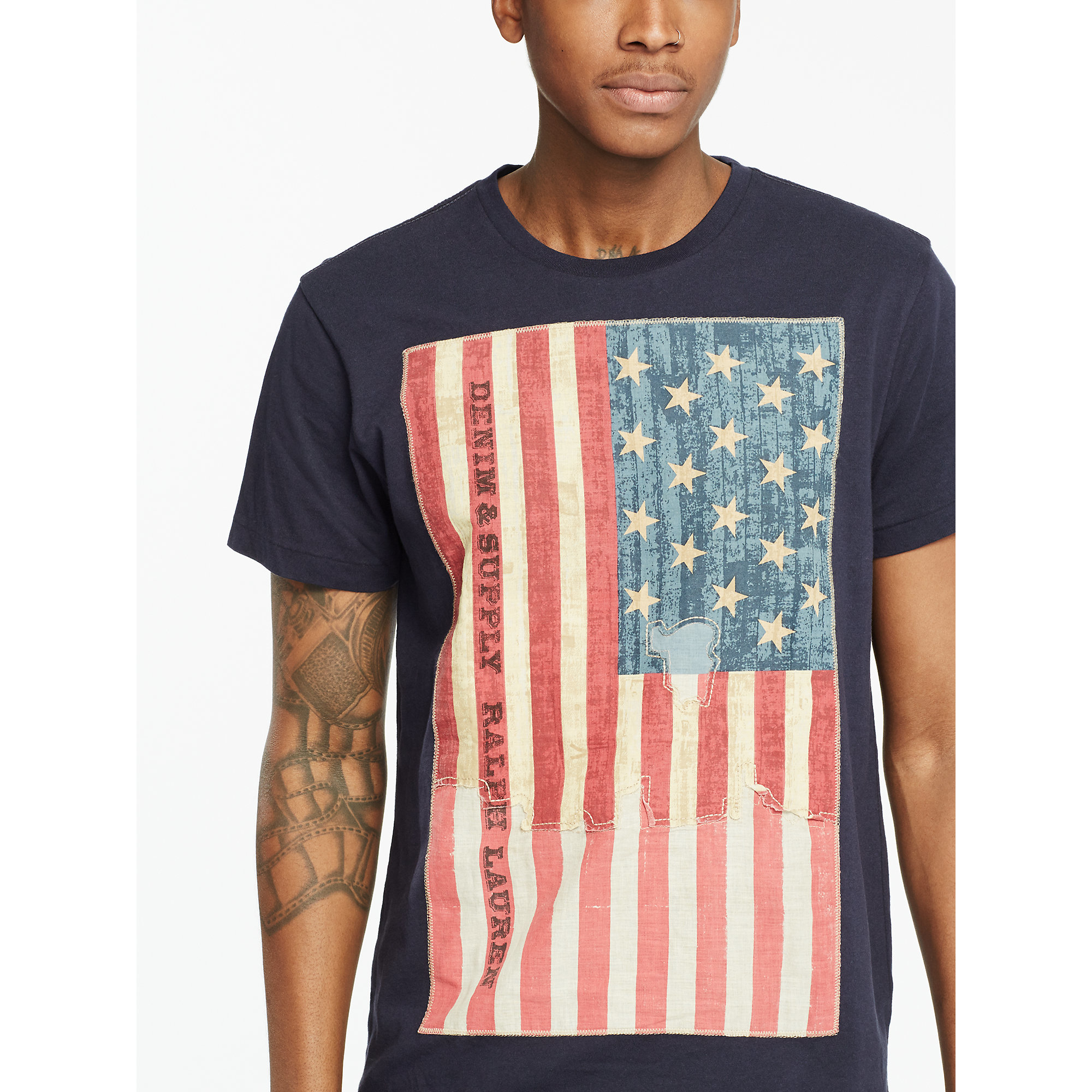 9abdd0935b Lyst - Denim   Supply Ralph Lauren Flag-patch Jersey Tee in Blue for Men