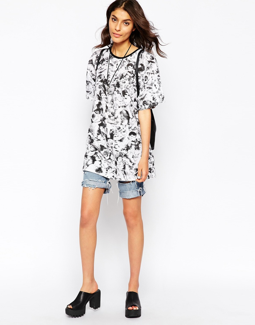 535e0849 Motel Major T-shirt In Cherub Print in Black - Lyst
