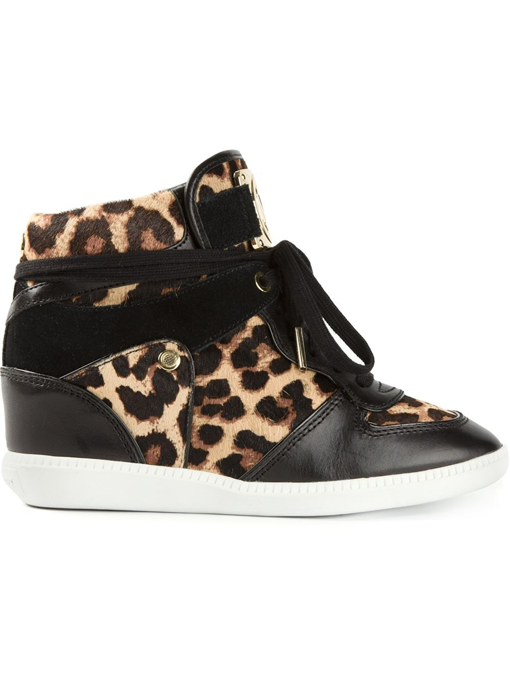 lyst michael michael kors leopard print concealed wedge sneakers in black. Black Bedroom Furniture Sets. Home Design Ideas