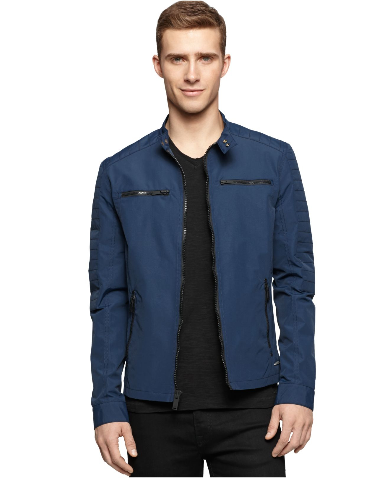 Lyst Calvin Klein Jeans Coated Moto Jacket In Blue For Men
