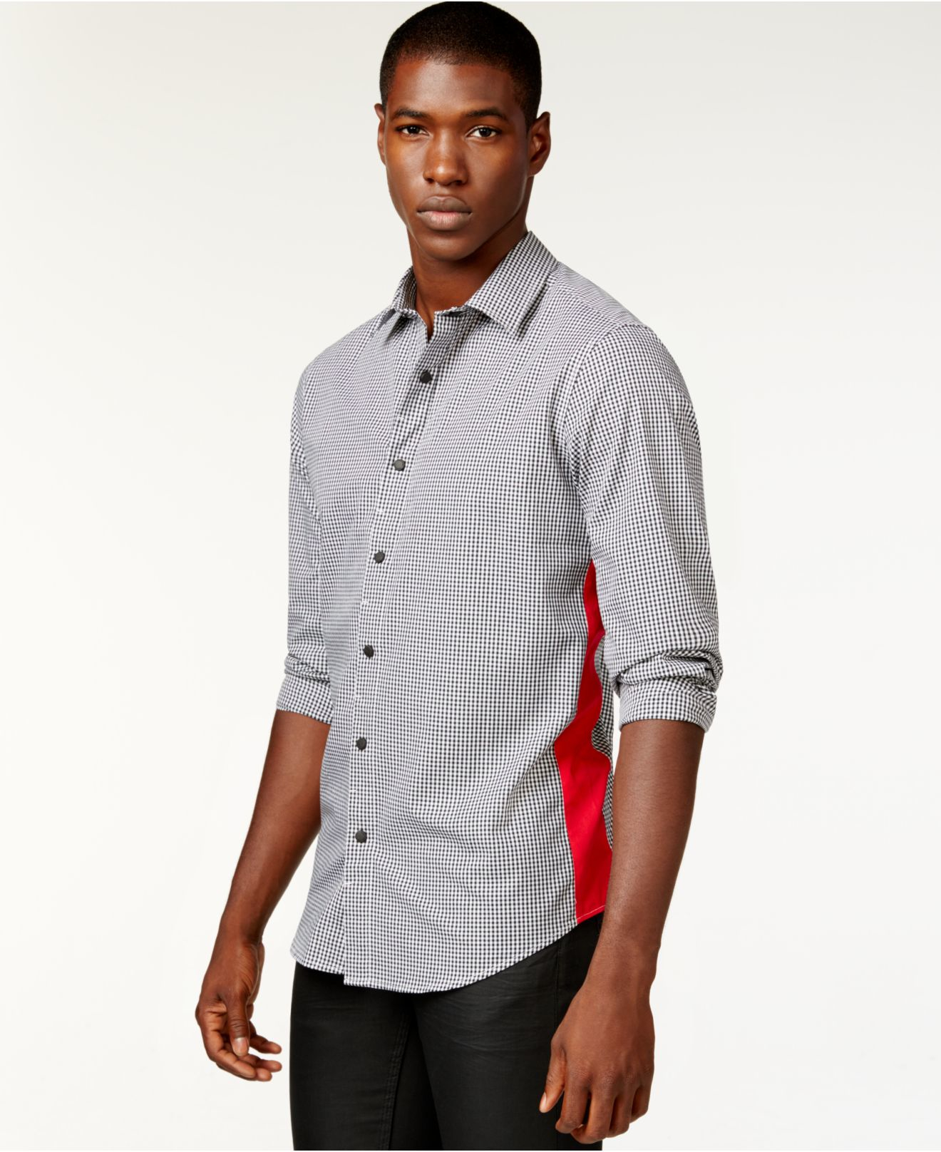 Lyst sean john men 39 s gingham contrast side shirt in for Sean john t shirts for mens