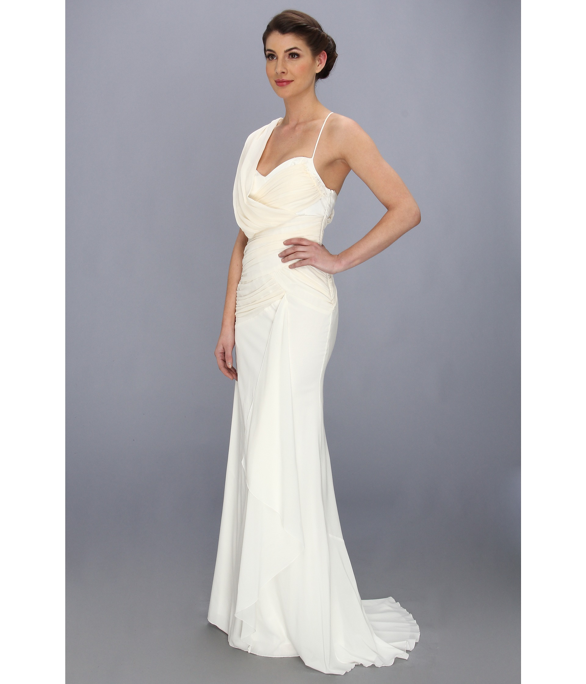 Lyst - Nicole Miller Georgette Draped Bridal Gown in White
