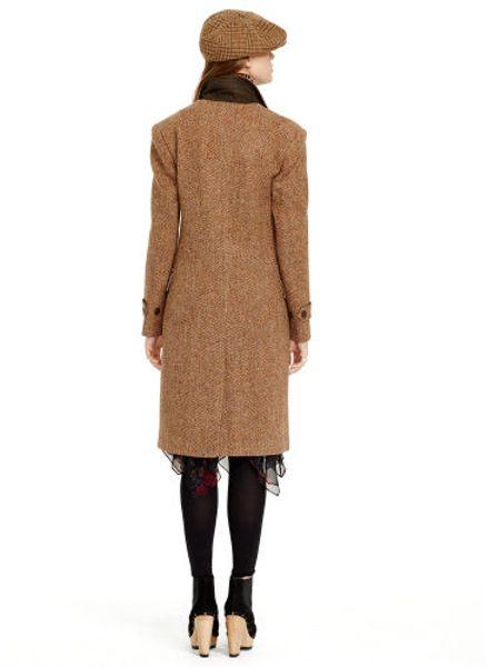 Polo Ralph Lauren Lambs Wool Tweed Coat In Brown Lyst