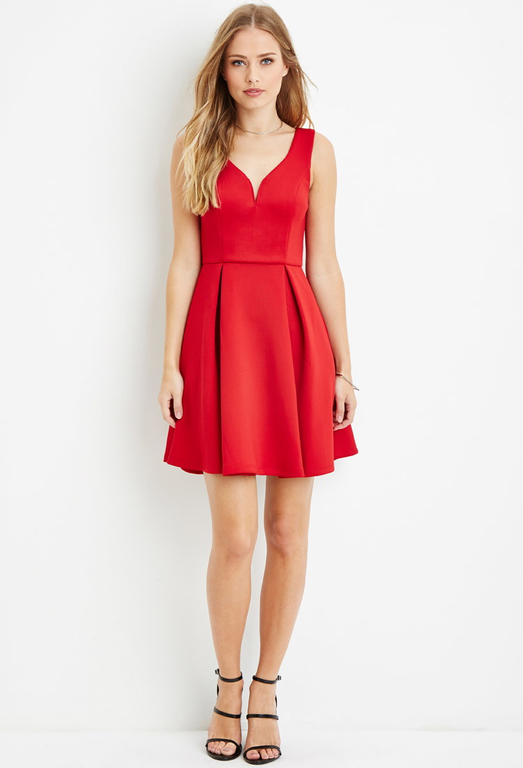 002f52abd24 Forever 21 Pleated A-line Dress in Red - Lyst