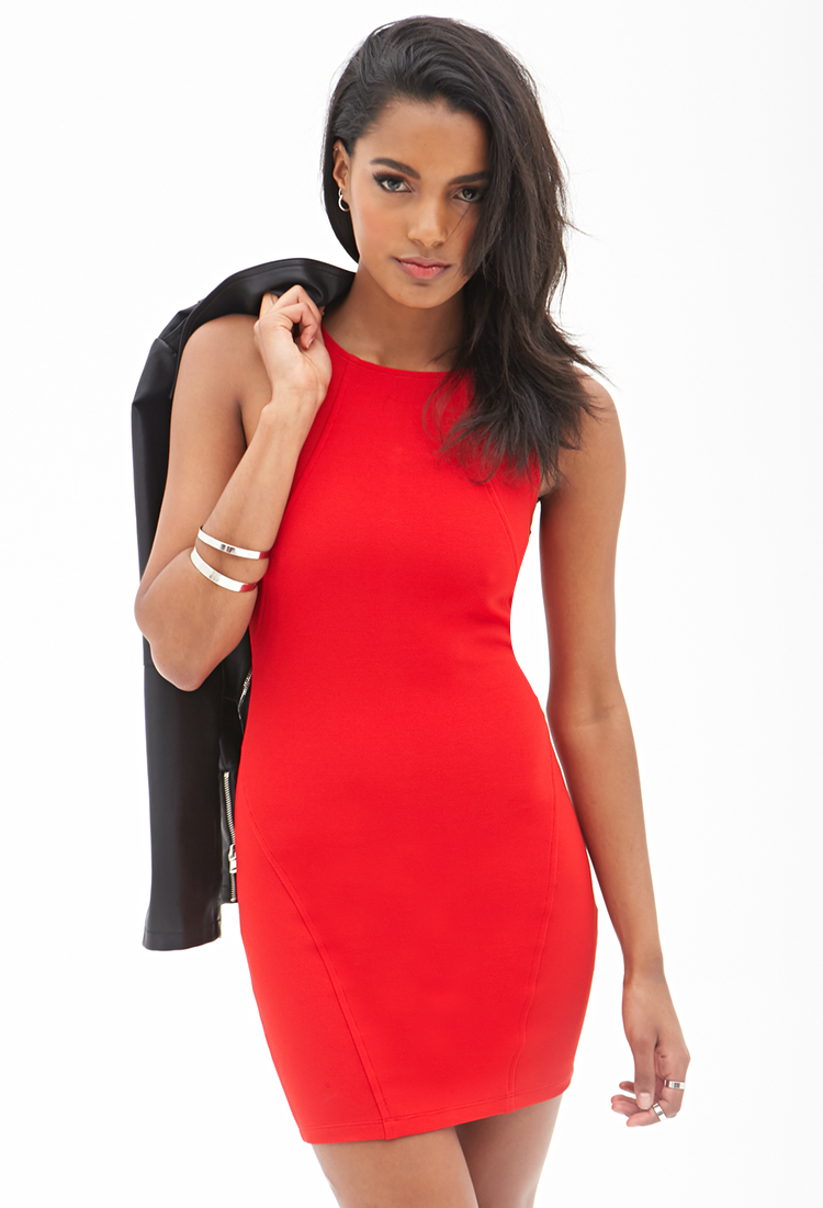Forever 21 Ribbed Knit Bodycon Dress in Red | Lyst