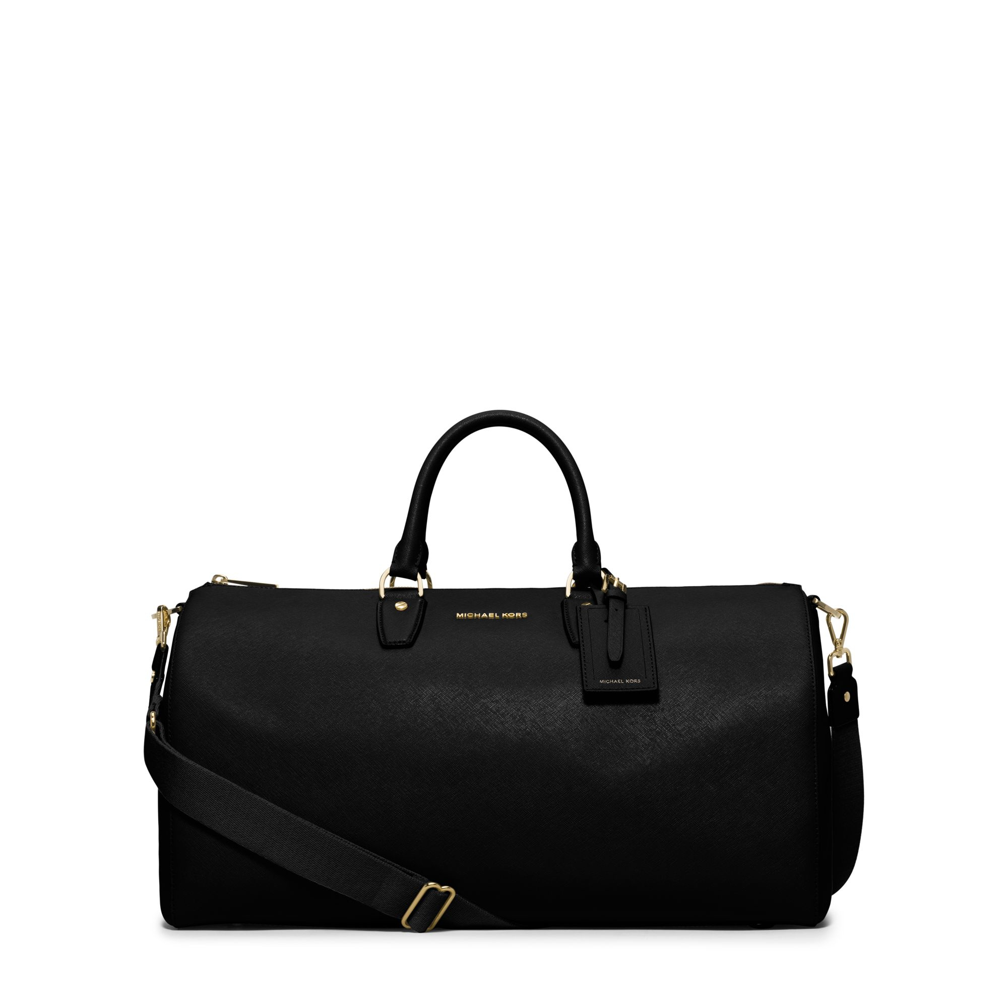 Michael kors Jet Set Large Leather Weekender in Black | Lyst