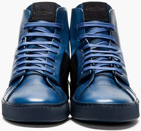 Calvin Klein Navy Leather High Top Jay Sneakers In Blue
