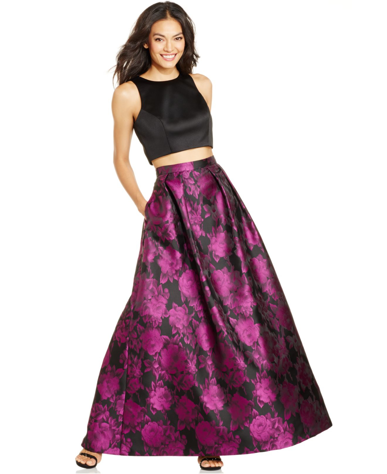 Lyst - Xscape 2-piece Floral Ball Gown in Pink