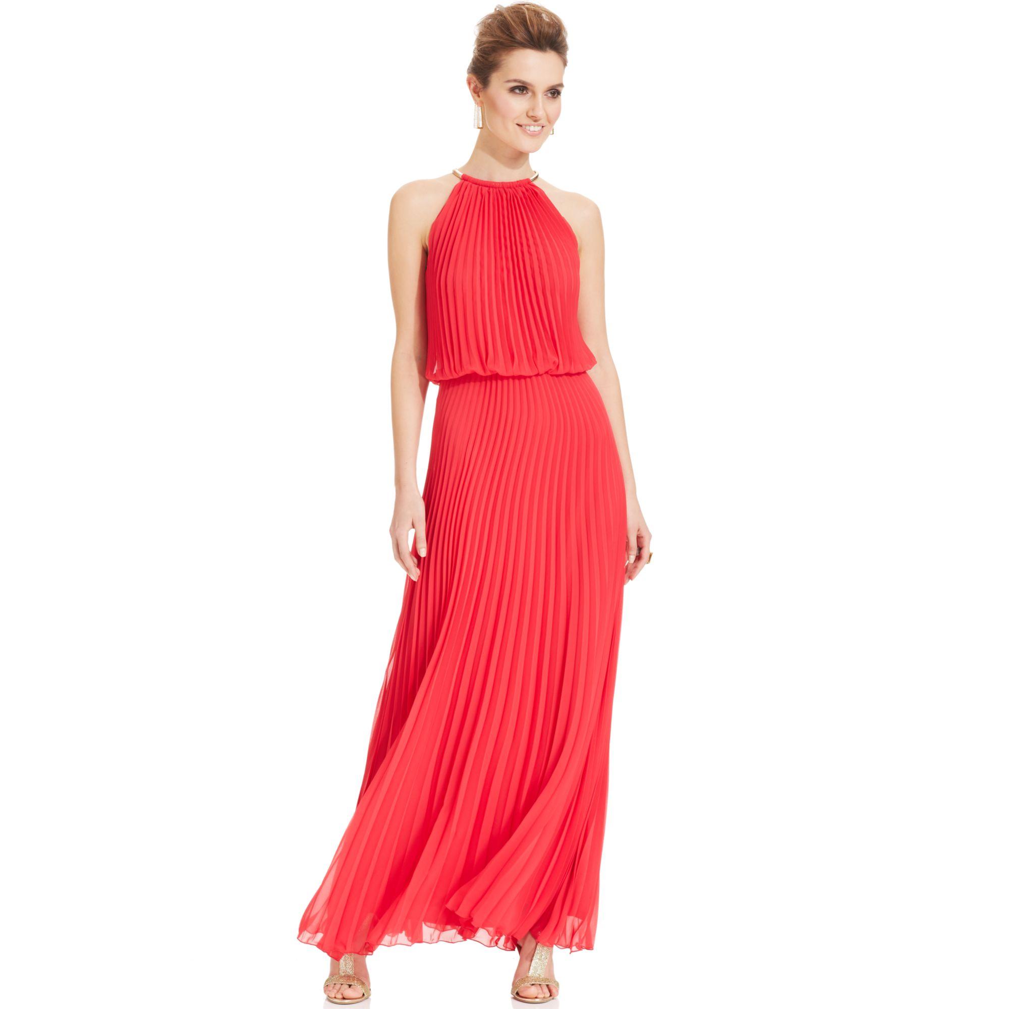 Lyst - Xscape Pleated Halter Blouson Gown in Orange