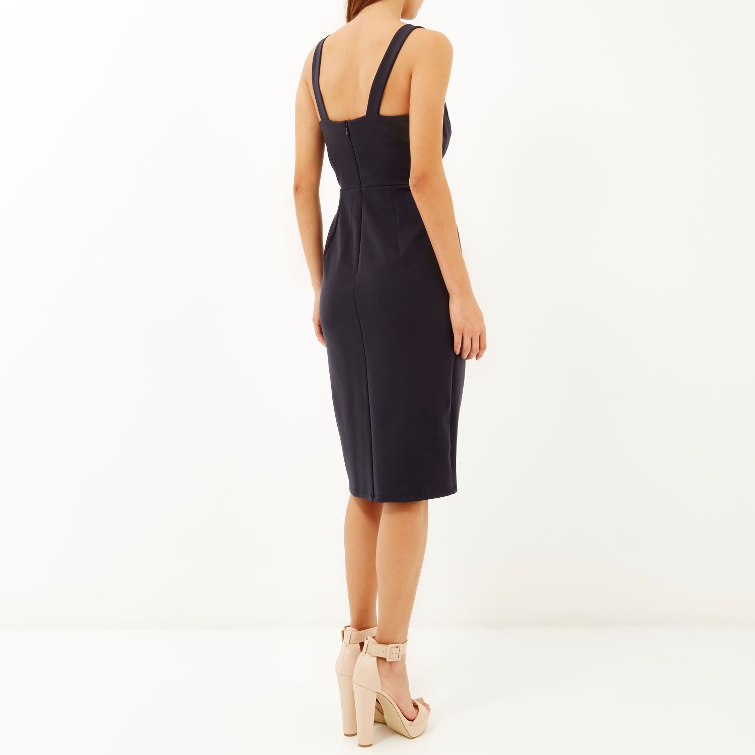 Wal g wrap detail dress with metallic stripe in blue navy lyst - Be Inspired