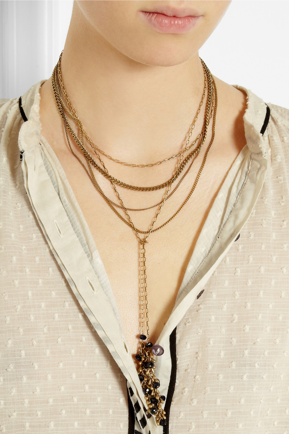 Lyst Isabel Marant Multi Strand Gold Tone Crystal