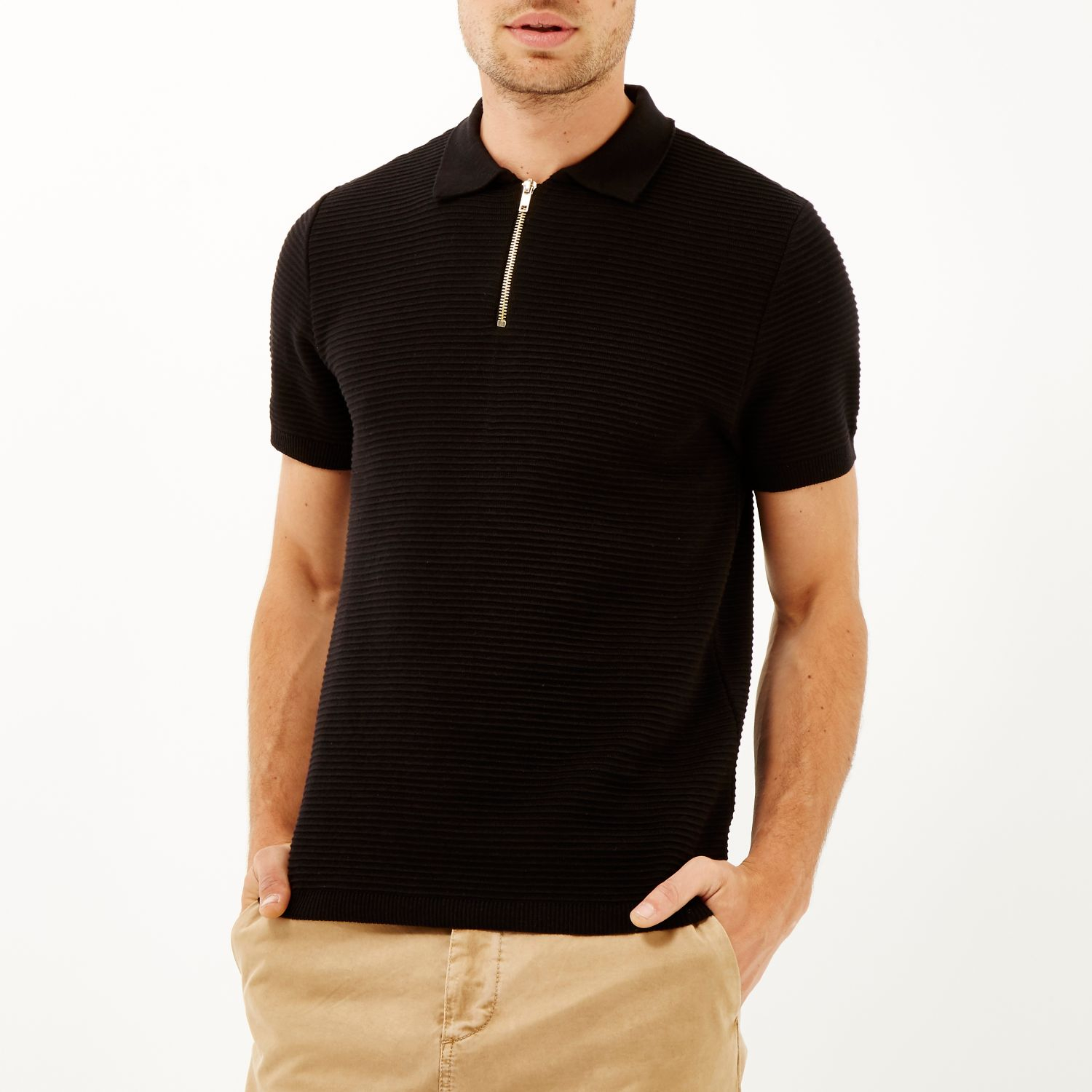 Ribbed For River Polo Black Men Zip Island Shirt Neck Lyst In RS8SBIq