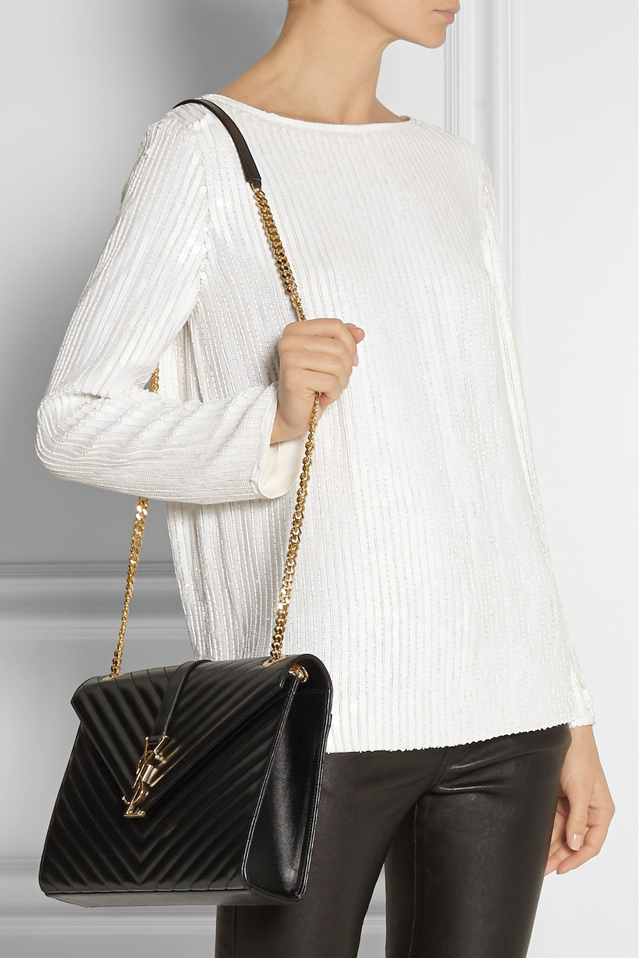 Monogram Matelasse Shoulder Bag Black Redtag Handbags