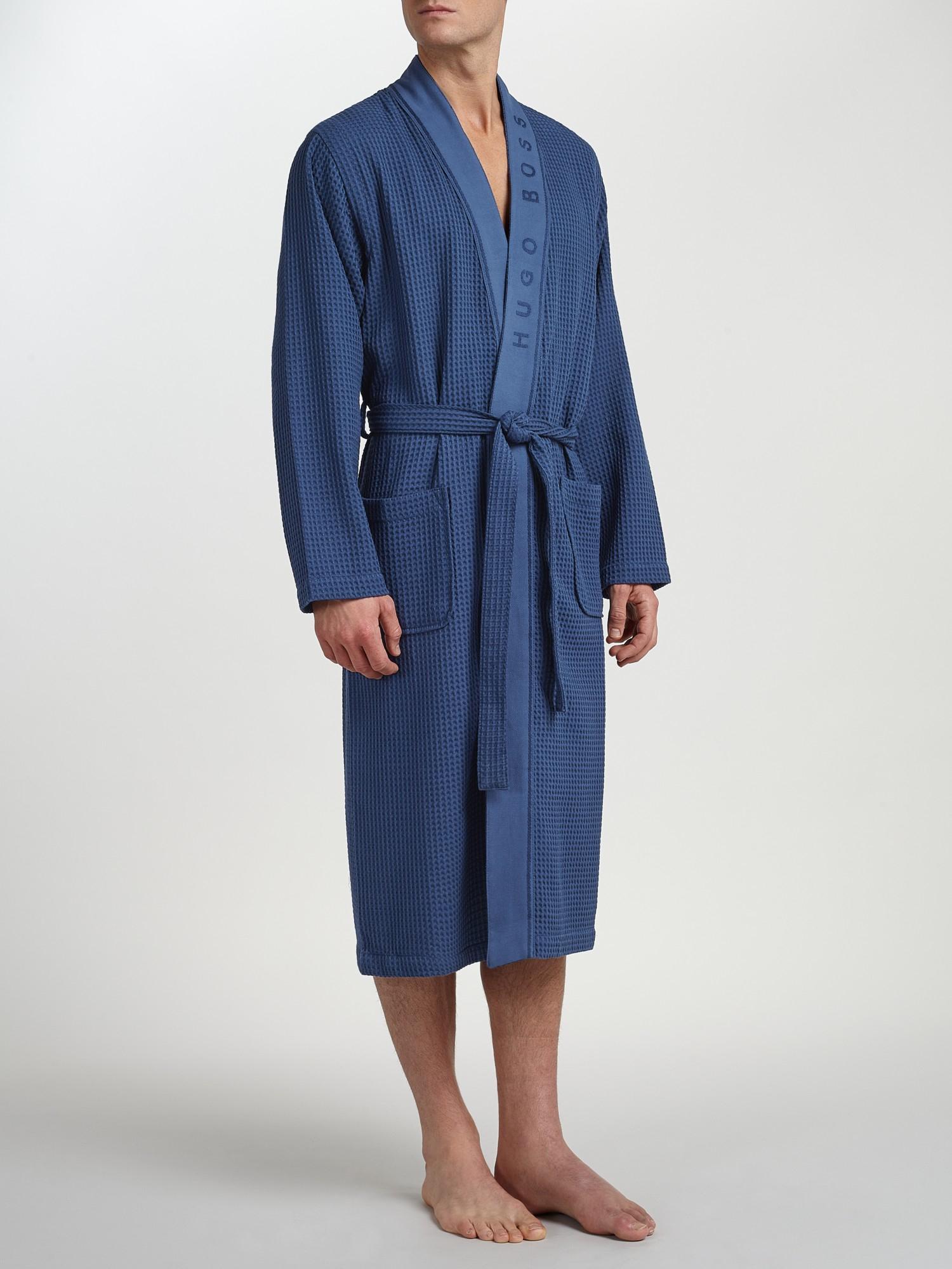 Lyst boss boss kimono waffle robe in blue for men for Robe de mariage hugo boss