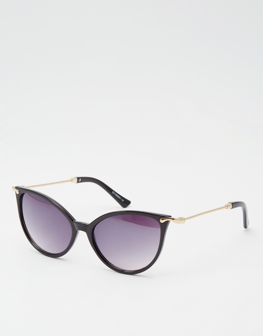 46bb2311dfa7b ASOS Cat Eye Sunglasses In Fine Frame And Metal Arms in Black - Lyst