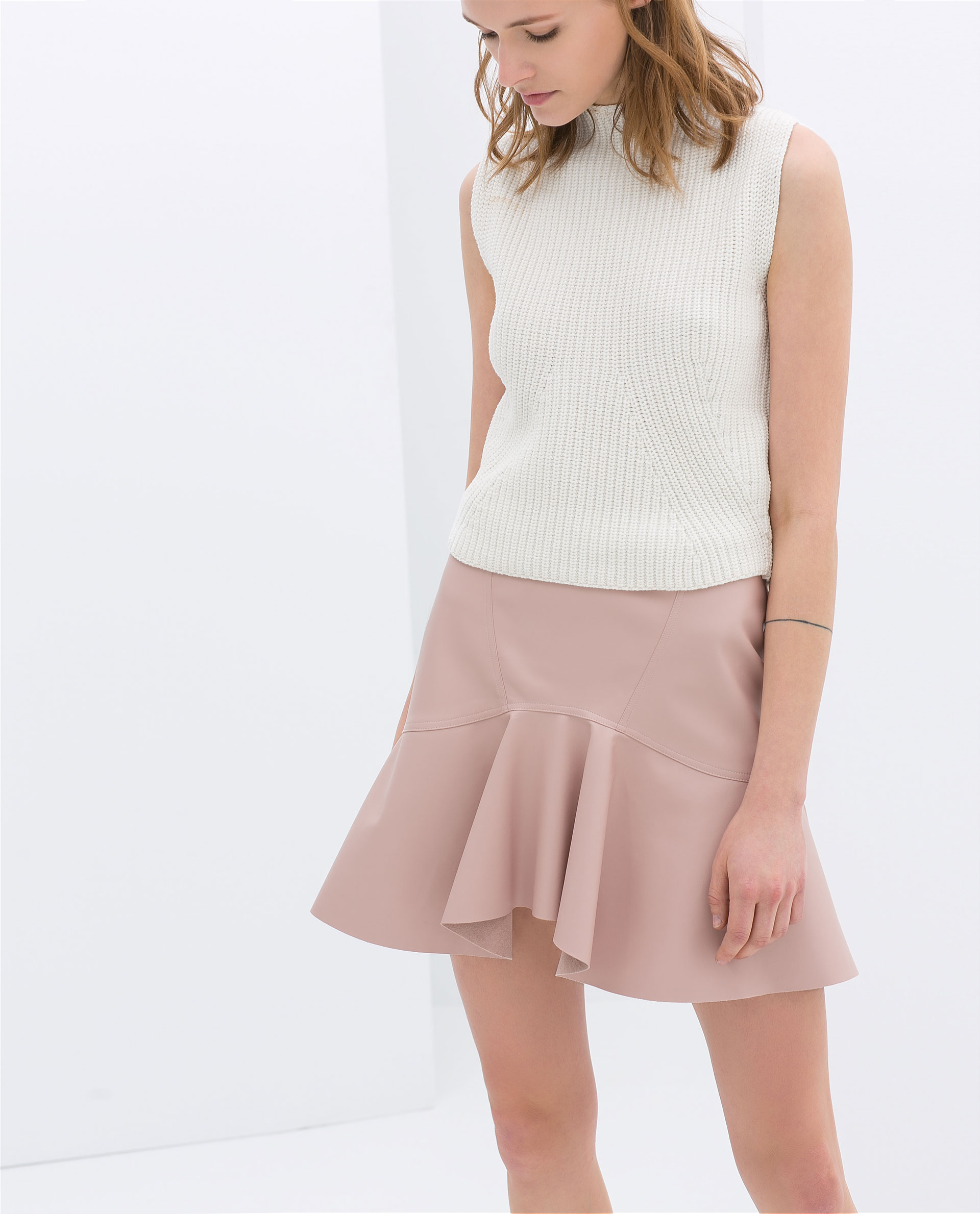 Zara Frilly Faux Leather Skirt in Pink | Lyst