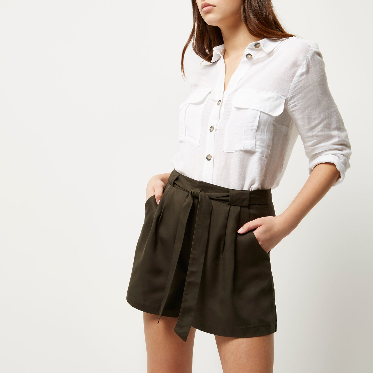 River island Khaki Tie High Waisted Shorts in Brown   Lyst