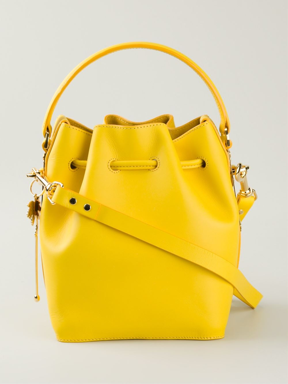 Lyst Sophie Hulme Small Drawstring Bucket Bag In Yellow