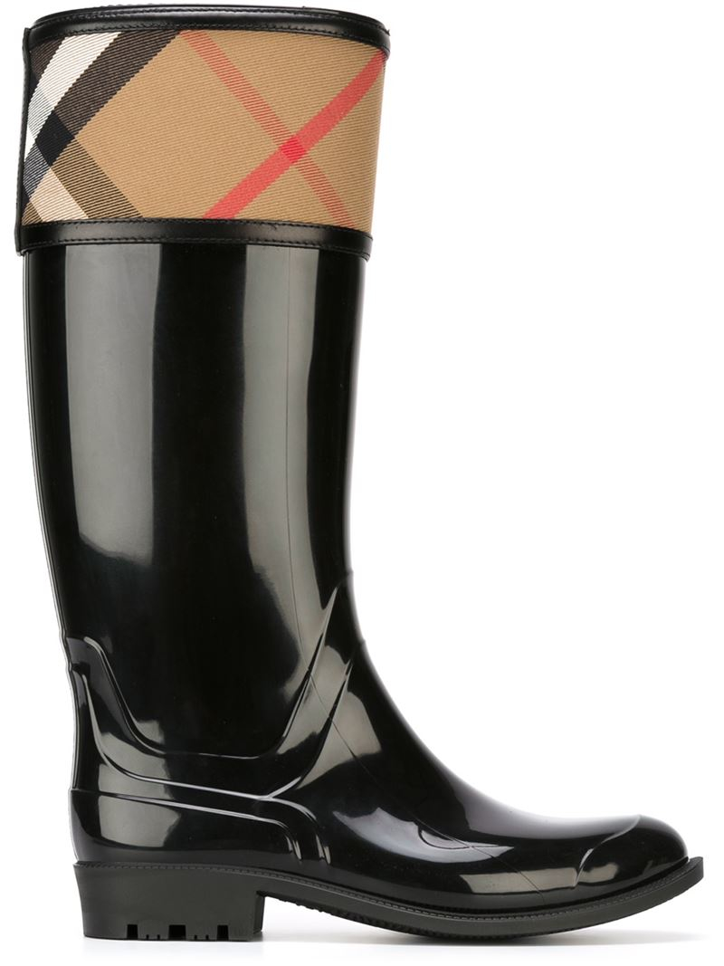 Burberry House Check Rain Boots In Black Lyst