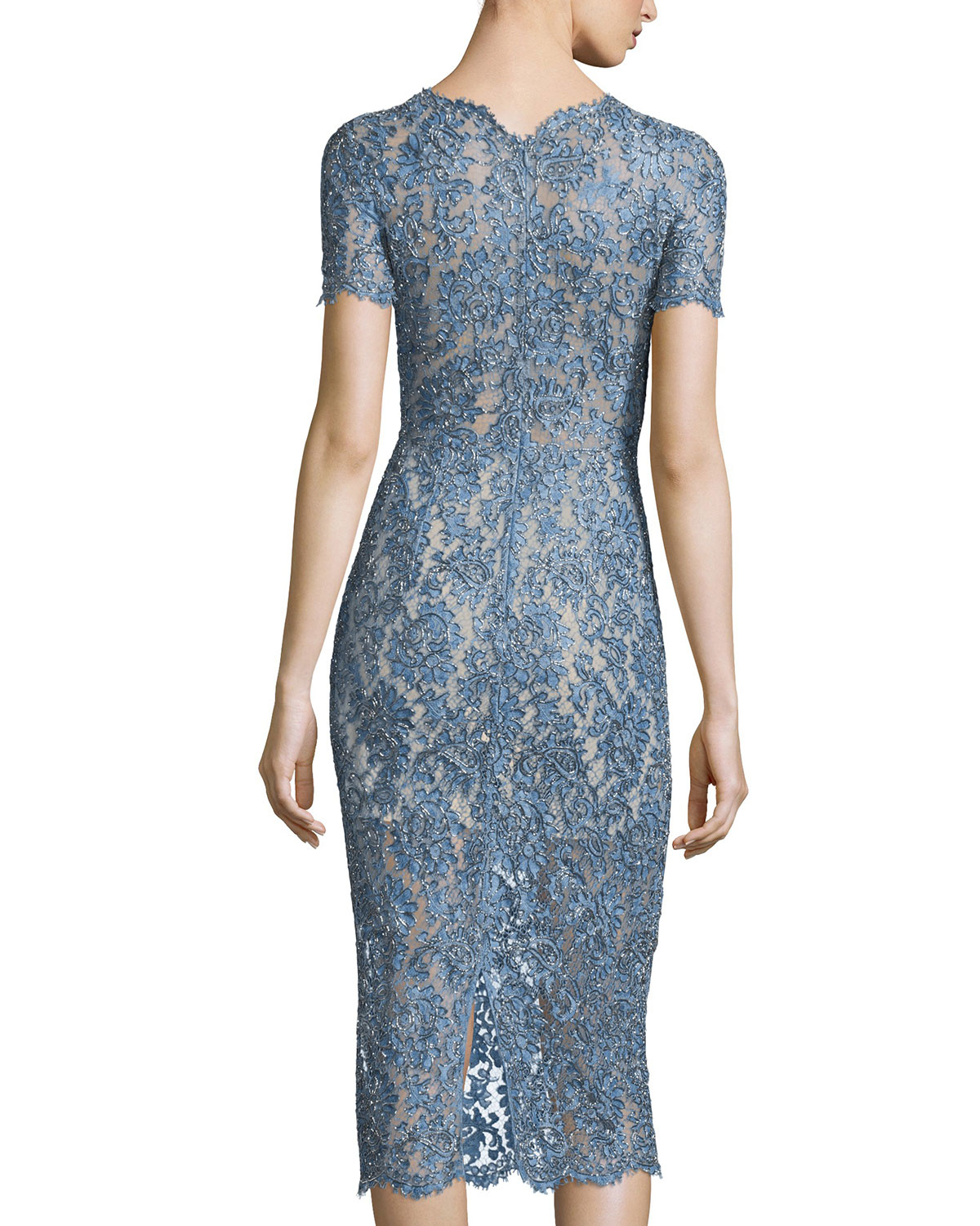 Lyst - Jenny Packham Lace Midi Cocktail Dress in Blue