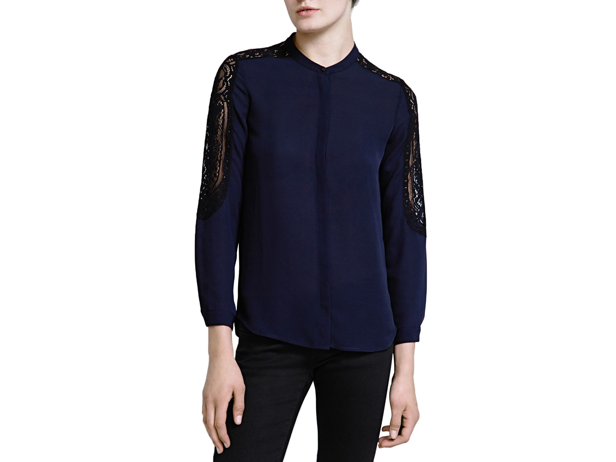 70dac156cd The Kooples Crepe & Lace Shirt in Blue - Lyst
