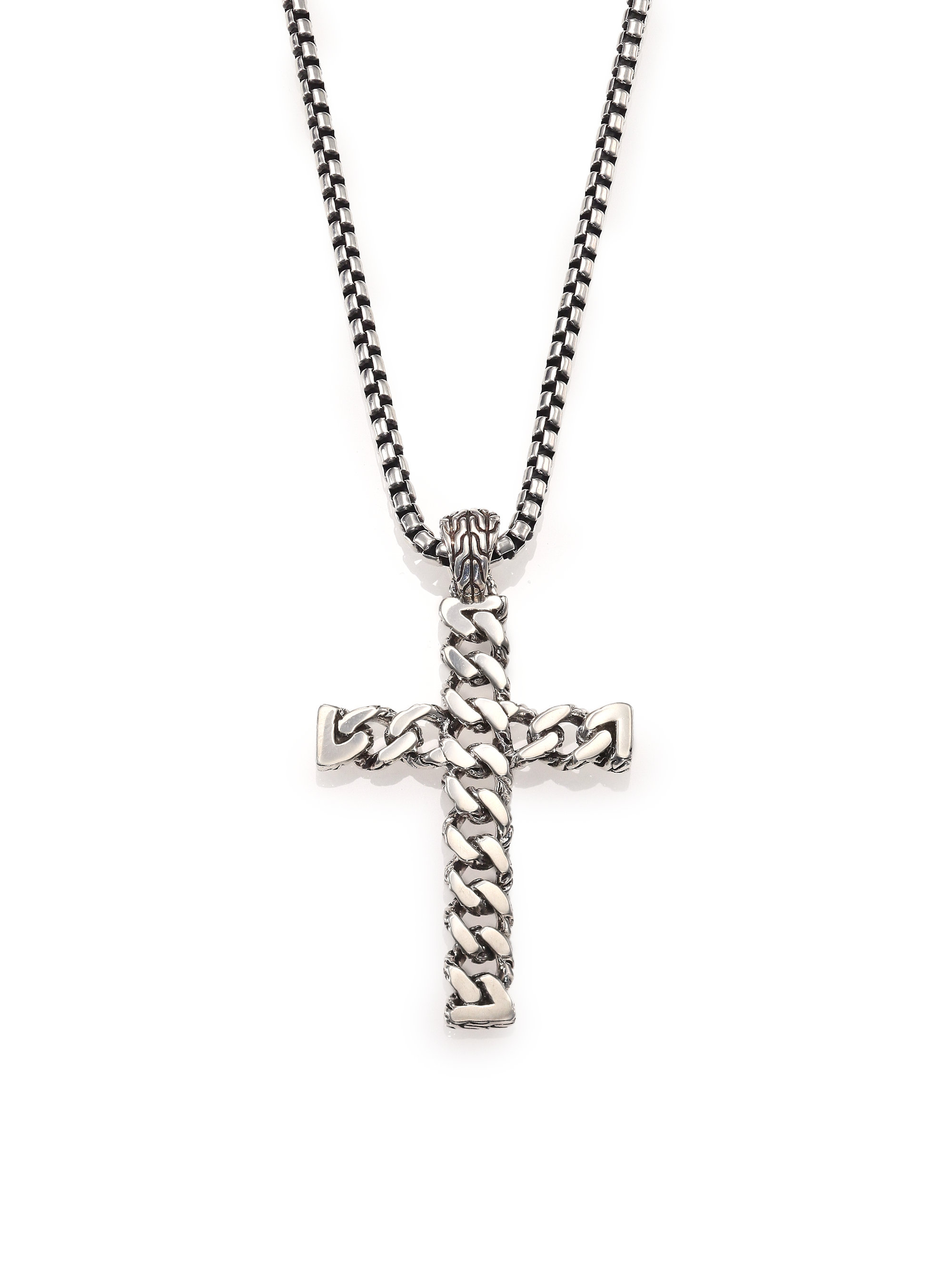 John Hardy Classic Chain Amp Cross Necklace In Metallic For