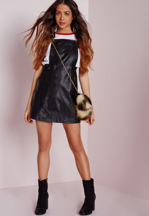Missguided Faux Leather Dungaree Dress Black in Black | Lyst