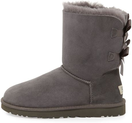 short gray uggs with bows