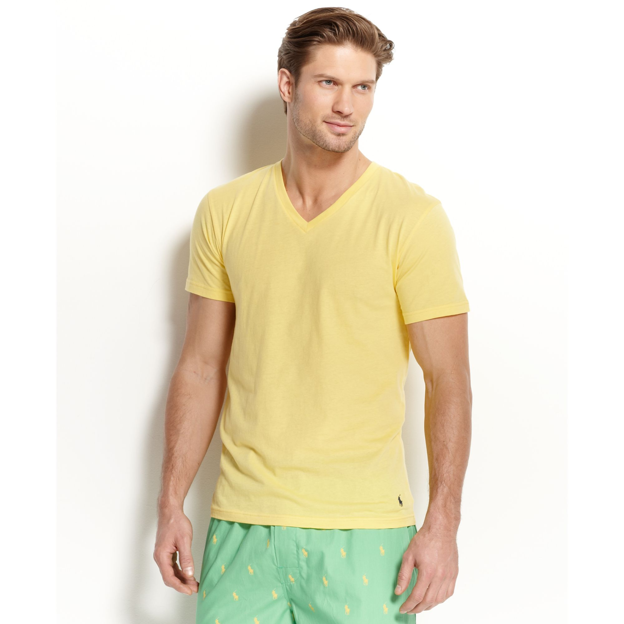 70632f4a27d2 netherlands ralph lauren mens classic fit v neck t bae2f 881d8  canada lyst ralph  lauren polo mens enzyme v neck tshirt in yellow for men 65317 ba741