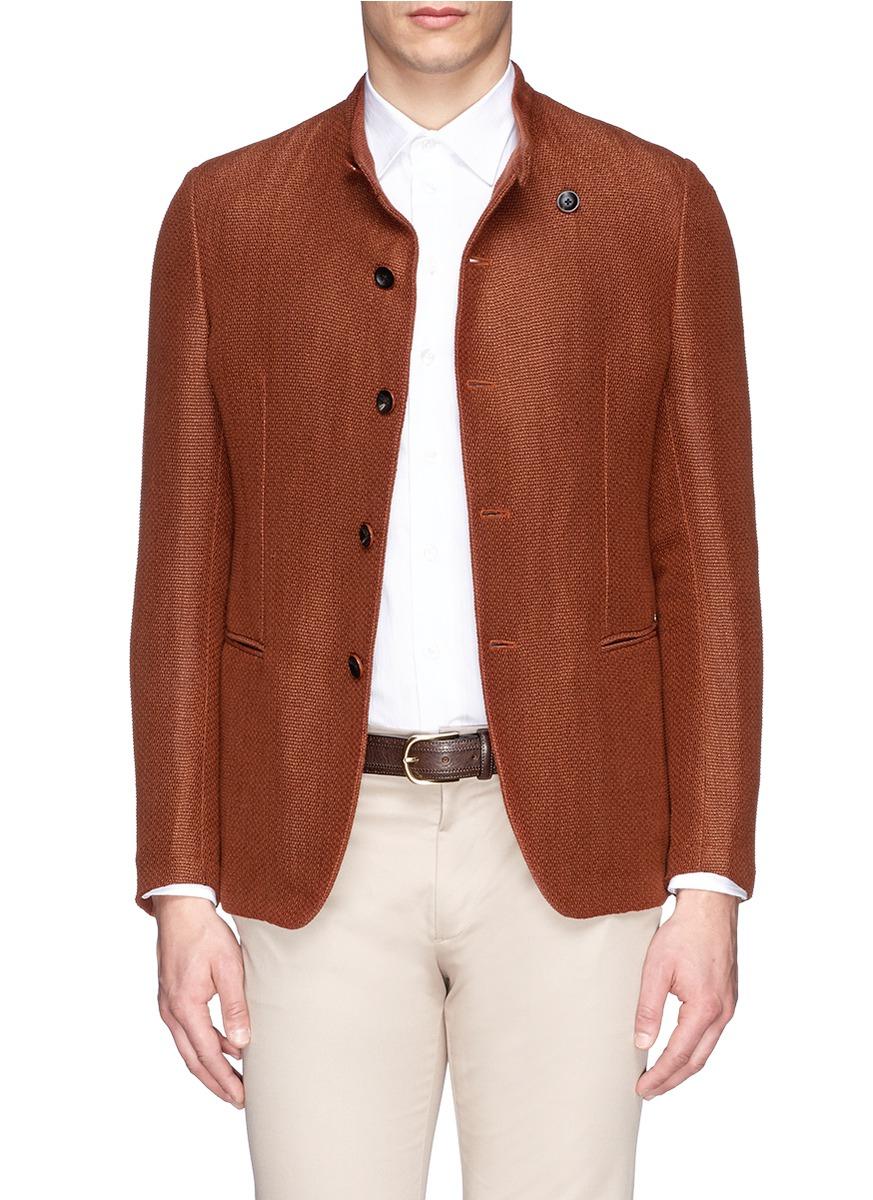 Armani band collar eyelet weave blazer in orange for men for Mens eyelet collar dress shirts