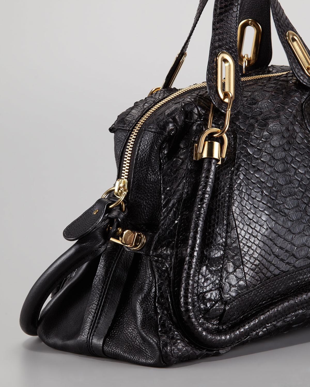 Chlo¨¦ Paraty Medium Python Shoulder Bag Black in Black | Lyst
