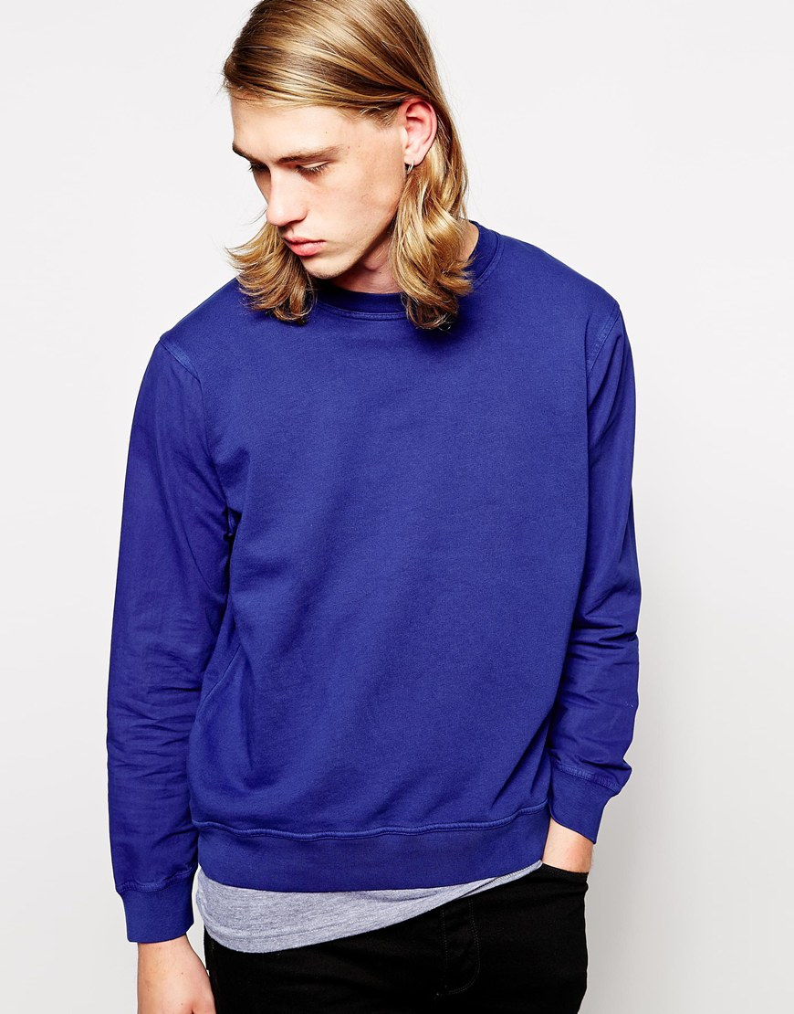 Cheap monday Sweater Plain in Blue for Men | Lyst