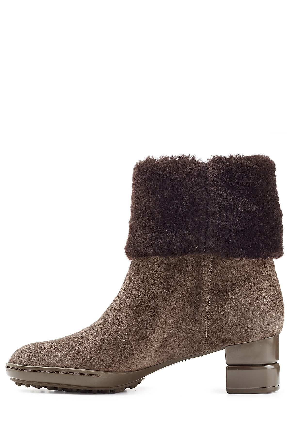 ferragamo suede ankle boots with sheepskin in brown lyst